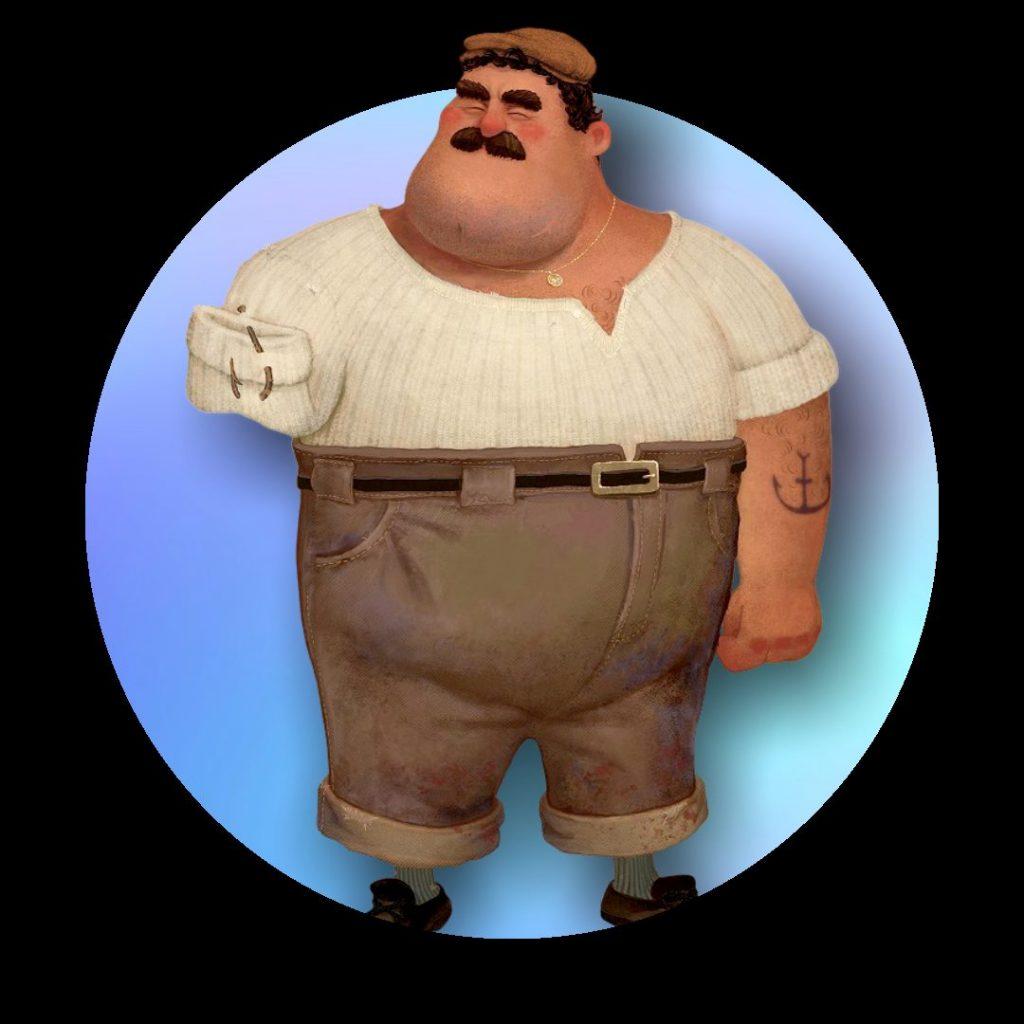 Wir sehen den Vater und Fischer Massimo. Er trägt einen beigen Hut, eine beige Hose und ein weißes Hemd. Sein rechter Arm ist verkürzt.